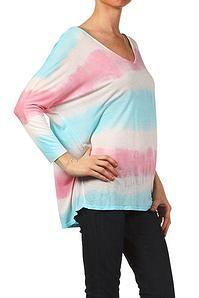Cinnaryn Freeloader Tye Dyed V-Neck Top in Aqua Pink $34