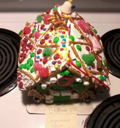 Christmas gingerbread house! (view of rear and top)                        ~ 2012 ~