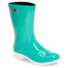 Hunter Womens Green Refined Gloss Rain Boots ($135) ❤ liked on ...