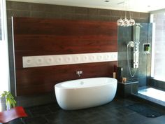 Modern bathroom architectural accents. Large black walnut panel. The grain carries all the way across. The width/height is approx. 10.5'x 7' and is solid wood. There is a row of Italian tile inlaid in the middle. The end is capped with aluminum. The tub filler hardware is flush to the surface of the panel. This was a very difficult build. It is hung on a custom french cleat system I designed. Project in association with architect Jack Black.