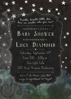 Printable Baby Shower (or Slumber Party, or Scout Camping Trip, or..!) Invitation - Night Stars - Chalkboard - cyanandsepia.etsy.com