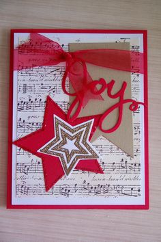 Christmas JOY card using all Stampin' Up products.