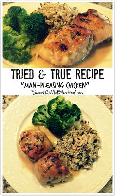 """Man-Pleasing Chicken""  (Also known as Holy Yum Chicken,  Maple-Dijon Chicken, Maple-Mustard Chicken), Tried & True recipe from Witty in the City!  New Family Favorite Chicken Dish! Just 4 ingredients for the sauce - mix, pour over the chicken and bake! In under an hour you have a fabulous meal! AWESOME!! 