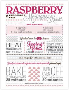 Raspberry Chocolate Chip Meringue Kisses #foodthanks