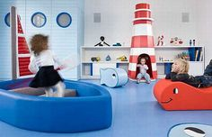 How fun would it be to have a play boat, lighthouse and whale in the playroom!? Land of Nod