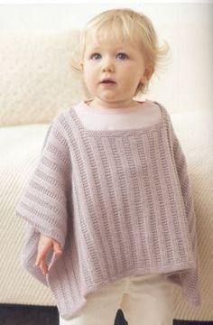 Baby Girl Poncho Knitting Pattern - Top Home Job Directory Baby Knitting Patterns, Crochet Poncho Patterns, Kids Patterns, Knitted Poncho, Knitting For Kids, Crochet Bebe, Knit Crochet, Girls Poncho, Top Pattern