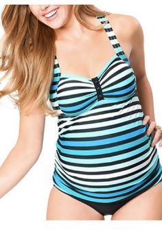 014ca12b470 Cute Maternity striped color block tankini bathing suit  ad  pregnancy