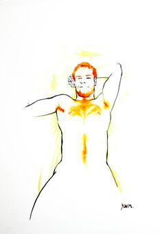 Jehan I - Yan Moussu, ink and water color for a nude ginger guy