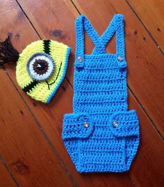 Photo Prop Baby MINION Hand crochet minion OUTFIT photo prop COSTUME gift in Baby Clothes & Despicable MeMINION INSPIREDcrochet minion setboy photo prop ...