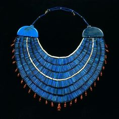 Egypt Museum Ancient Egyptian Usekh or Wesekh collar, glass beads, carnelian and Egyptian faience. Late Period, ca. Egypt Jewelry, Jewelry Art, Gold Jewelry, Roman Jewelry, Viking Jewelry, Crystal Jewelry, Ancient Egyptian Jewelry, Egyptian Era, Egyptian Costume