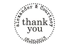 Thank you custom rubber stamp for wedding favors. $23.00, via Etsy.