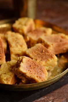 Mysore Pak: besan/chick pea flour , sugar and clarified butter/ghee Indian Dessert Recipes, Indian Sweets, Indian Snacks, Sweets Recipes, Gourmet Recipes, Cooking Recipes, Indian Recipes, Diwali Recipes, Indian Foods