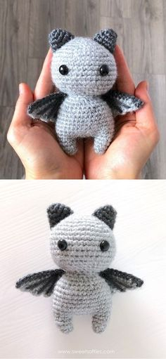 Cute And Fun Halloween Amigurumi Ideas.Aren't bats just adorable? This cute little fellow thinks he's all big and scary, when in reality he's just extremely sweet! You can make this amigurumi bat for all Halloween fans, or just decorate your home with it. The finished bat is 5 inches (13 cm) tall. #freecrochetpattern #amigurumi #halloween