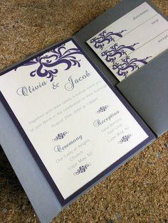 Pocketfold Wedding Invitation - Gray & Purple. $4.50, via Etsy.