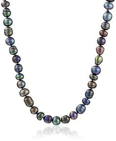"Sterling Silver 9-11mm Assorted Black Freshwater Cultured Pearl Strand, 36"" >>> You can get additional details at the image link."