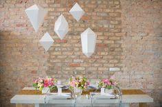 Geometric wedding decor ideas | photo by Amanda Megan Miller | 100 Layer Cake