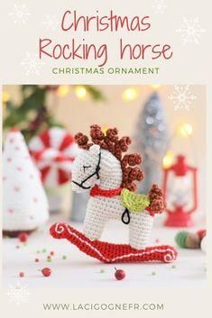 Christmas Rocking horse ornament, Christmas tree decor, Holiday decorations #lacigognefr #crochettoy #crochetchristmas #crochethorse #christmasgiftideas #christmasdecor #hristmasdecorations #rockinghorse