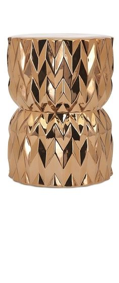 Limited Production Design & Stock: Glamorous Gold Geometric Ceramic Stool / Side Table * 20 x 15 inches Ceramic Stool, Ceramic Garden Stools, Affordable Modern Furniture, Luxury Furniture, Stump Table, Contemporary Sculpture, Wedding Chairs, Living Room Chairs, Dining Room