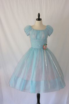 1950's Baby Blue Sheer Chiffon Dress ..... this would be a FABULOUS Alice costume