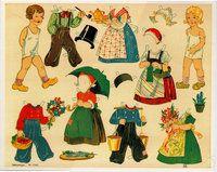 Anziehpuppen 6 große Ausschneidebogen Reprint von 1925 aus dem Neuruppiner Museum