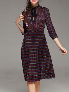 #AdoreWe #StyleWe Midi Dresses - PHILIS A-line 3/4 Sleeve Keyhole Pleated Midi Dress - AdoreWe.com