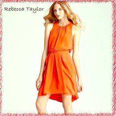 "Rebecca Taylor Flame  ""Set in Shift"" Dress SZ 6 Rebecca Taylor NWT Flame Orange ""Set in Shift"" Dress SZ 6. RT $295 Approximate Measurements LYING FLAT: Length: 39"" Bust: 18"" (armpit to armpit) Waist: 14"" Hips: 22"" A flawless fashion find, this pleated Rebecca Taylor dress is beautifully draped at the back with the added luxe detail of an exposed gold zipper. Polyester Dry clean Imported Round neck, sleeveless, gathered waist with pleats at skirt Draped at back, exposed back gold-tone zip…"