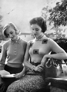 """Fashionable students reading (1958). Bernat School and College Look Knit Pattern Book No. 67.Contains 42 different patterns for women. Copyright 1958 by Emile Bernat & Sons.Photography by Dirone. Some shots taken at the Rhodes School, New York City.    """"Good friends, good books and a sleepy conscience:this is the ideal life."""" ~ Mark Twain"""