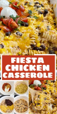 Chicken Recipes | Casserole Recipes | Easy Dinner Recipes | Fiesta chicken casserole is a family favorite dinner recipe full of chicken, pasta, black beans, salsa, sour cream, corn, cheese, and taco seasonings. This recipe can easily be adapted to any preference or heat level. Casserole Ideas, Easy Casserole Recipes, Chicken Casserole, Casserole Dishes, Pasta Recipes, Easy Family Meals, Family Recipes, Easy Meals, Recipe Using Chicken