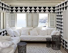 $34 Mod Triangle PATTERN - Allover Wall STENCIL - DIY Wallpaper and Decal Alternative by oliveleafstencils