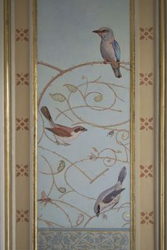 """MURAL - Shrikes, Rollers and fragments of  ornamental rose branches - New painted panel in the entrance of Schoonoord House Abcoude NL - """"A Sleeping Beauty"""" - Peter Korver 