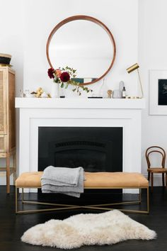 Homepolish designer Amy Row retools Lexi Mainland's living room with artwork and statement pieces. Living Room Bench, Living Room Interior, Living Room Decor, Chimney Decor, Fall Home Decor, Home Decor Accessories, Decoration, Room Inspiration, Living Room Designs