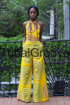Tribal Groove by Stellah's Groove — Yellow African Ankara Wax Print Wide Leg Jumpsuit African American Fashion, African Inspired Fashion, African Print Fashion, Africa Fashion, African Fashion Dresses, Fashion Outfits, Fashion Ideas, African Outfits, Fashion Styles