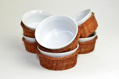 #Vintage #Bowls in #Basket Set 6  Large #Rustic #Retro Style #Kitchen #Cooking #Serving #Dinnerware #Ceramic #Nesting by OneRustyNail on #Etsy