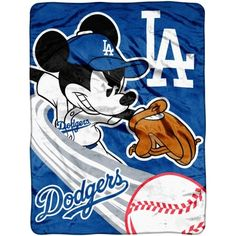 """L.A. Dodgers 46"""" x 60"""" Mickey Mouse Fly Ball Micro Raschel Blanket"""