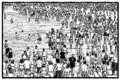 At the Beach - the Sketch: A digital art work by Dan Newburn.