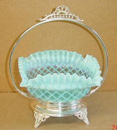 Elegant Blue Opalescent Ruffled Rim Lattice Brides Basket Silver Frame Northwood | eBay