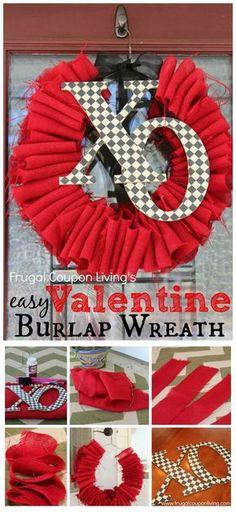 Valentines Ideas. Valetines Crafts - Easy DIY Valentine's Day Wreath using Burlap. Tutorial on Frugal Coupon Living. #valentinesday #valentinesdaydecor #homedecor #valentinedecor #valentinewreath #farmhousedecor #valentinesdayfarmhousedecor #homemadewreath