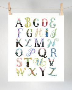 High Quality Floral Alphabet - A to Z Art Print. This is a high quality and archival inkjet print of my original gouache painting. It is printed on a heavy weight Canson 100% cotton archival paper. Ha