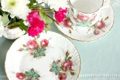Hammersley Grandmother's Rose tea cup, saucer and plate