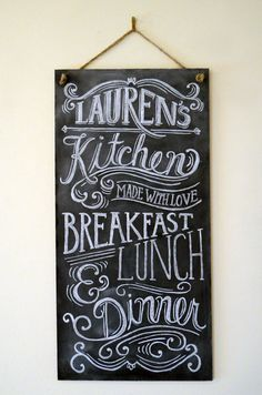 Custom Chalkboard - Kitchen Chalkboard Sign - Typography Art - Custom Kitchen Sign - Personalized Gift - Vintage Sign. $135.00, via Etsy.