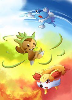 Pokemon Gen 6 Starters! by suzuran.deviantart.com on @deviantART
