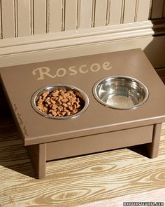 This easy-to-build dog feeding station raises your pet's food and water to a more comfortable level and keeps your floor neat. Made from a step stool.