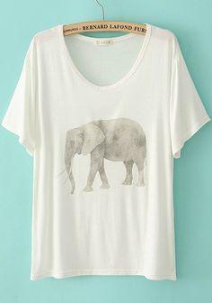 White Elephant Print Collarless Short Sleeve Cotton T-Shirt