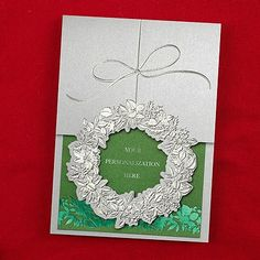 Silvery Wreath Holiday Card - custom holiday greeting cards - donation will be made to Feeding America #holidaycards #custom #feedingamerica #givingtuesday #charity #charitable #holiday  #Christmas #gift #ideas