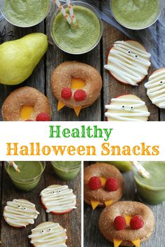 These three healthy Halloween snacks are quick and easy to make, fun for class parties, and feature fresh apples and pears. #halloweensnacks #halloweenkids #halloweenideas #halloweenpartyideas #realmomnutrition Healthy Diet Recipes, Healthy Dog Treats, Healthy Kids, Clean Eating Recipes, Real Food Recipes, Healthy Snacks, Dinner Healthy, Healthy Living, Halloween Snacks For Kids