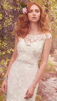 maggie sottero spring 2017 bridal cap sleeves bateau neck full embellishment elegant sheath wedding dress illusion back chapel train (gretchen) zv