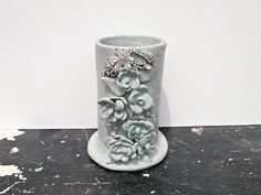 Shabby Blue Hand painted Vintage Vase- Rhinestone and Floral Detail- Antique Pottery - Cottage Chic Decor - Distressed Vase. $60.00, via Etsy.  https://www.etsy.com/listing/100853434/shabby-blue-hand-painted-vintage-vase