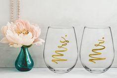 Personalized Mr. & Mrs wine glass/custom glass/custom wine glass/personalized glass/bride wine glass/bachelorette glass/stemless wine glass by CatePaperCo on Etsy https://www.etsy.com/listing/520758924/personalized-mr-mrs-wine-glasscustom