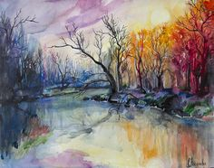Sunset In The Forest Painting  - Sunset In The Forest Fine Art Print