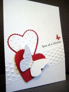 without the butterfly handmade Valentine/wedding card . mostly white with touches of red . Stampin' Up! Valentines Day Cards Handmade, Wedding Cards Handmade, Greeting Cards Handmade, Valentine Ideas, Karten Diy, Engagement Cards, Embossed Cards, Creative Cards, Homemade Cards